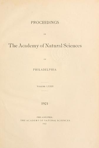 Download Proceedings of the Academy of Natural Sciences of Philadelphia, Volume 73