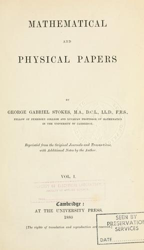 Download Mathematical and physical papers.