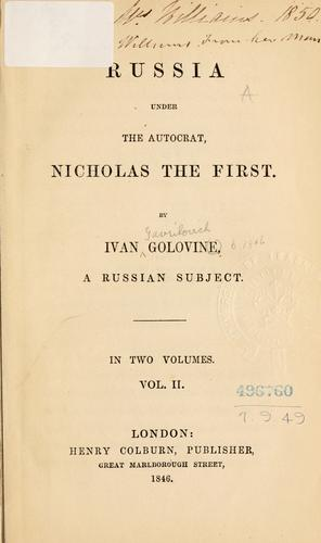 Russia under the autocrat, Nicholas the First