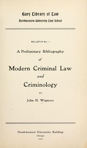 Download A preliminary bibliography of modern criminal law and criminology