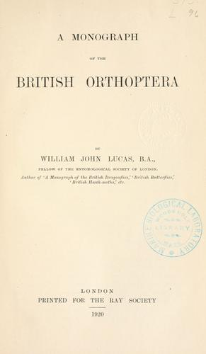 A Monograph of the British Orthoptera