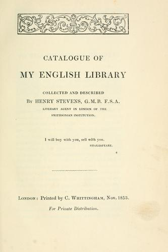 Catalogue of my English library.