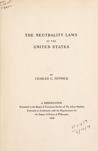 Download The neutrality laws of the United States.