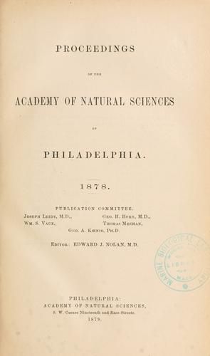 Download Proceedings of the Academy of Natural Sciences of Philadelphia, Volume 30
