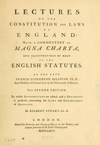 Download Lectures on the constitution and laws of England