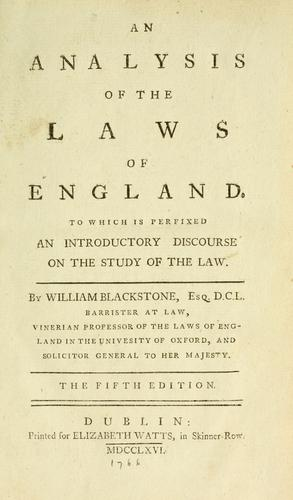 Download An analysis of the laws of England
