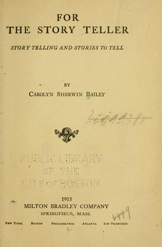 For the story teller