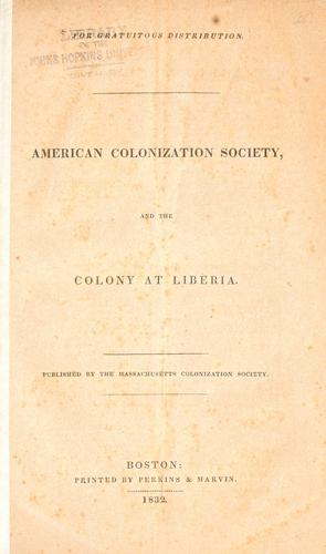 American Colonization Society, and the colony at Liberia.
