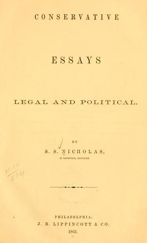 Download Conservative essays, legal and political.
