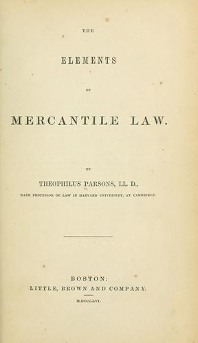 The elements of mercantile law.