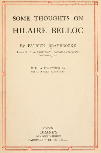 Some thoughts on Hilaire Belloc