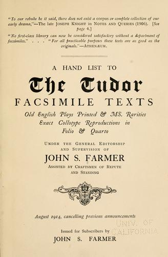 Download A hand list to the Tudor facsimile texts