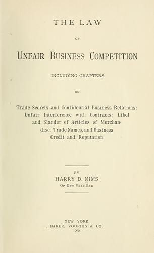 Download The law of unfair business competition