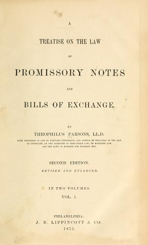Download A treatise on the law of promissory notes and bills of exchange.