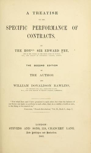 A treatise on the specific performance of contracts.