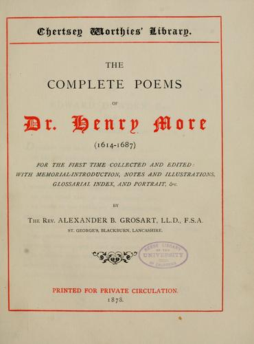 The complete poems of Dr. Henry More (1614-1687).