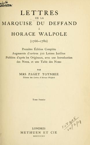 Lettres à Horace Walpole, 1766-1780.