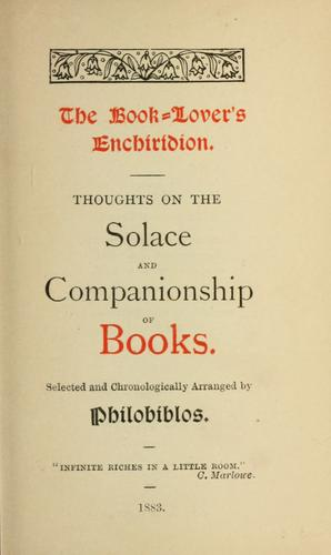 The book-lover's enchiridion