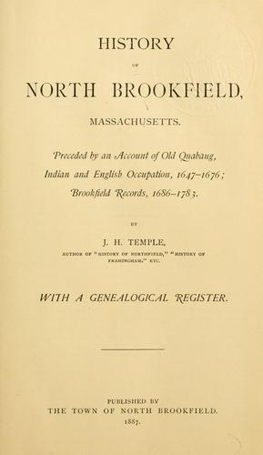 Download History of North Brookfield, Massachusetts.