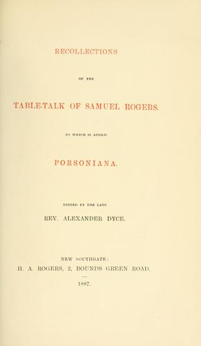 Download Recollections of the table-talk of Samuel Rogers