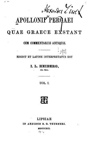 Download Apollonii Pergaei quae graece exstant cum commentariis antiquis