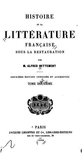 Histoire de la littérature française sous la restauration