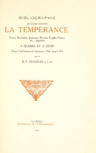 Bibliographie des ouvrages concernant la tempérance