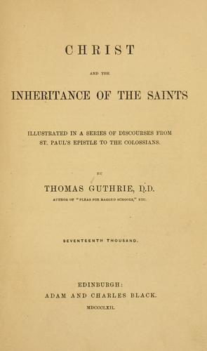 Download Christ and the inheritance of the saints