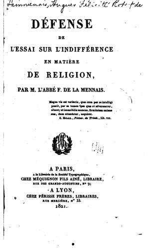 Défense de l'Essai sur l'indifference en matière de religion