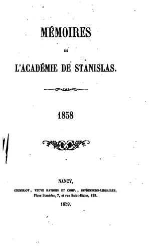 Mémoires de la Société royale des sciences et belles-lettres de Nancy …