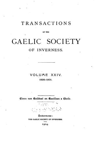 Transactions of the Gaelic Society of Inverness