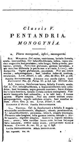 Caroli a Linné … Systema vegetabilium secundum classes, ordines, genera, species: Cum …