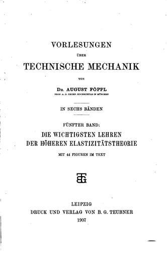 Vorlesungen über technische Mechanik