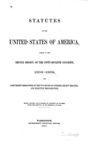 Statutes of the United States of America passed at the … session of the …