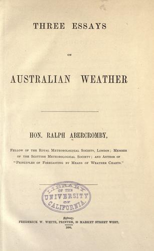 Three essays on Australian weather
