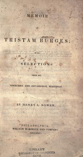 Download Memoir of Tristam Burges