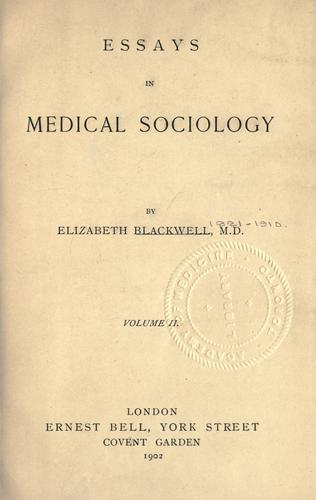 Download Essays in medical sociology