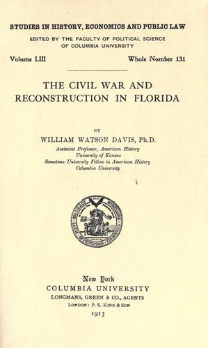 Download The civil war and reconstruction in Florida