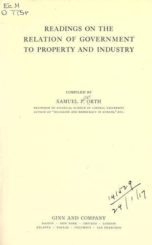 Download Readings on the relation of government to property and industry.