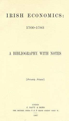 Irish economics, 1700-1783