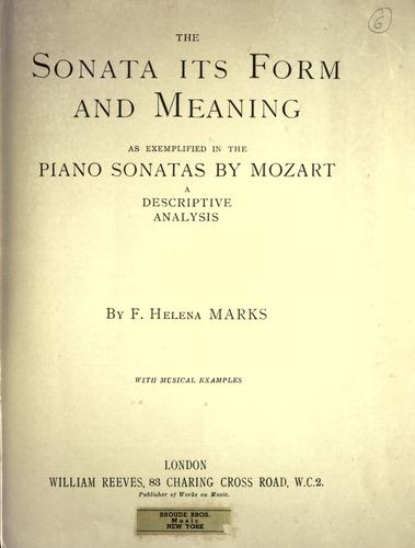 Download The sonata, its form and meaning as exemplified in the piano sonatas by Mozart