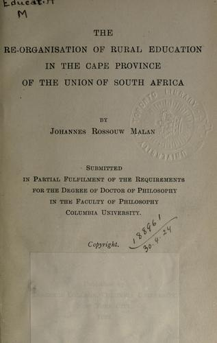 Download The re-organisation of rural education in the Cape Province of the Union of South Africa.