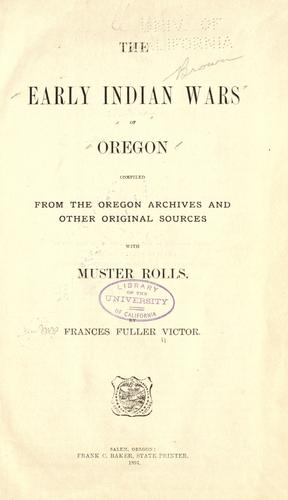 The early Indian wars of Oregon