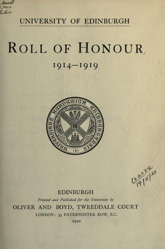 Download Roll of honour, 1914-1919.
