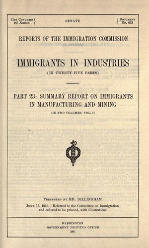 Download Reports of the Immigration Commission.
