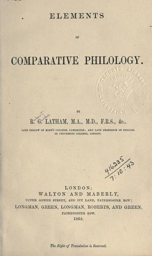 Download Elements of comparative philology.