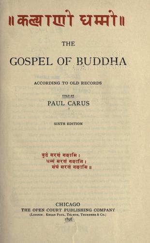 Download The gospel of Buddha according to old records