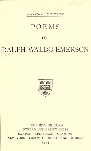 Poems of Ralph Waldo Emerson.