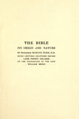 Download The Bible, its origin and nature.