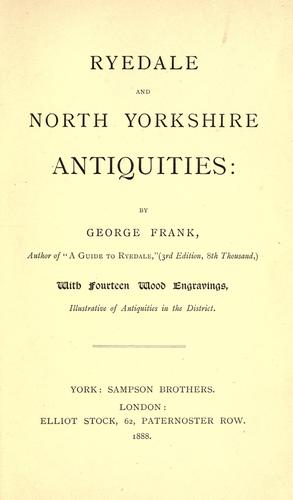Download Ryedale and North Yorkshire antiquities.